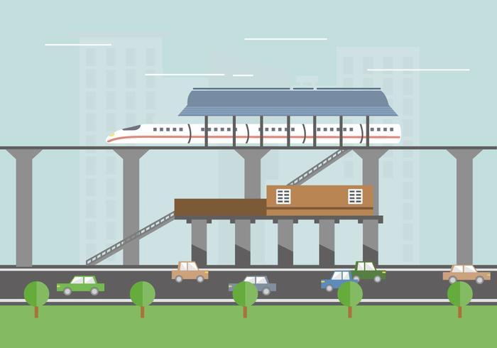 TGV-stationen tåget vektor platt illustration