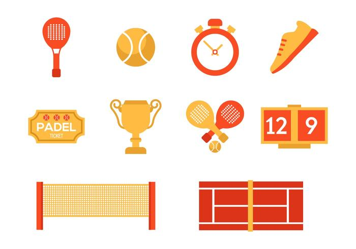 Tennis Padel Icons Vector