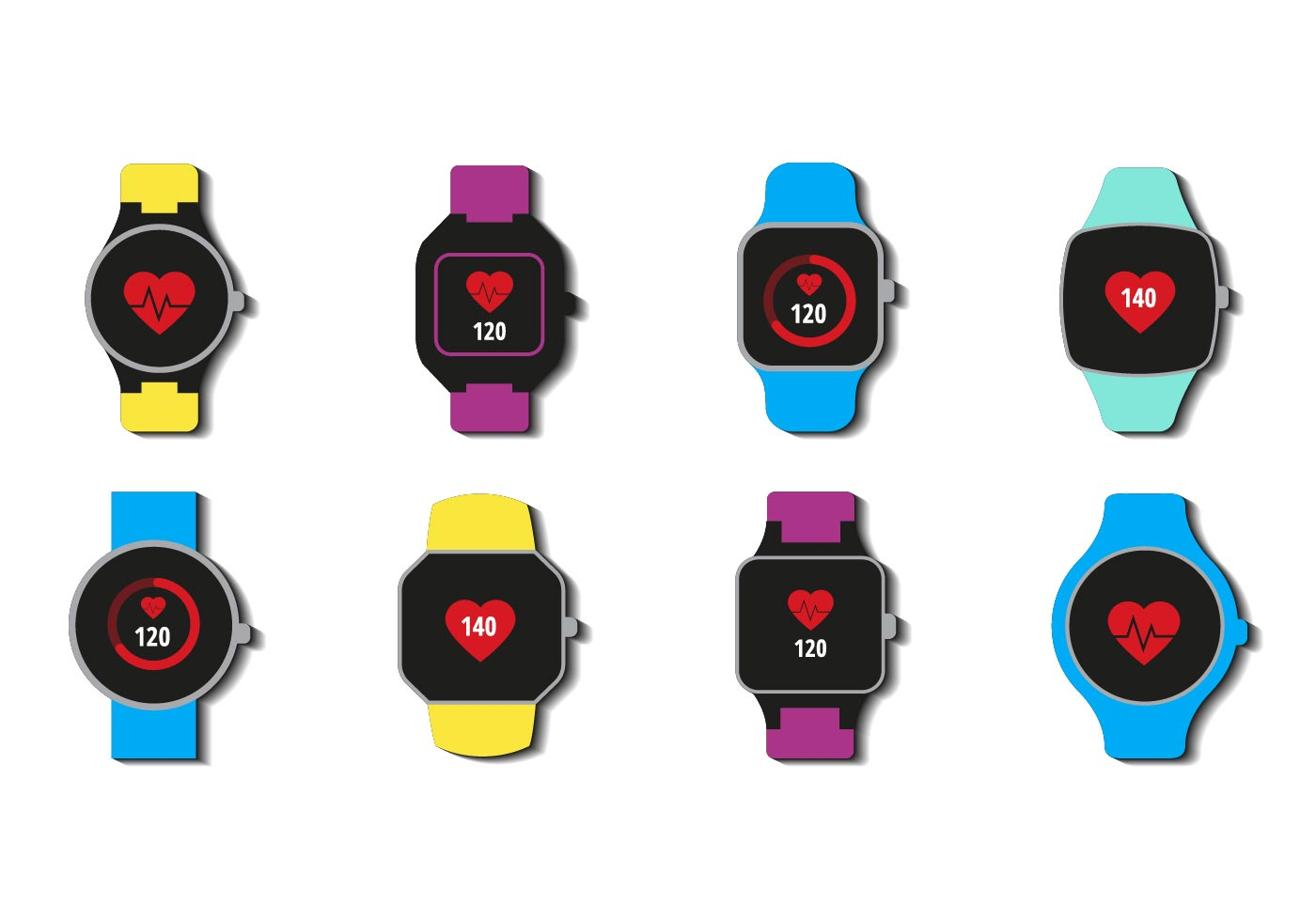 Free Smartwatch With Heart Rate Icons Vector
