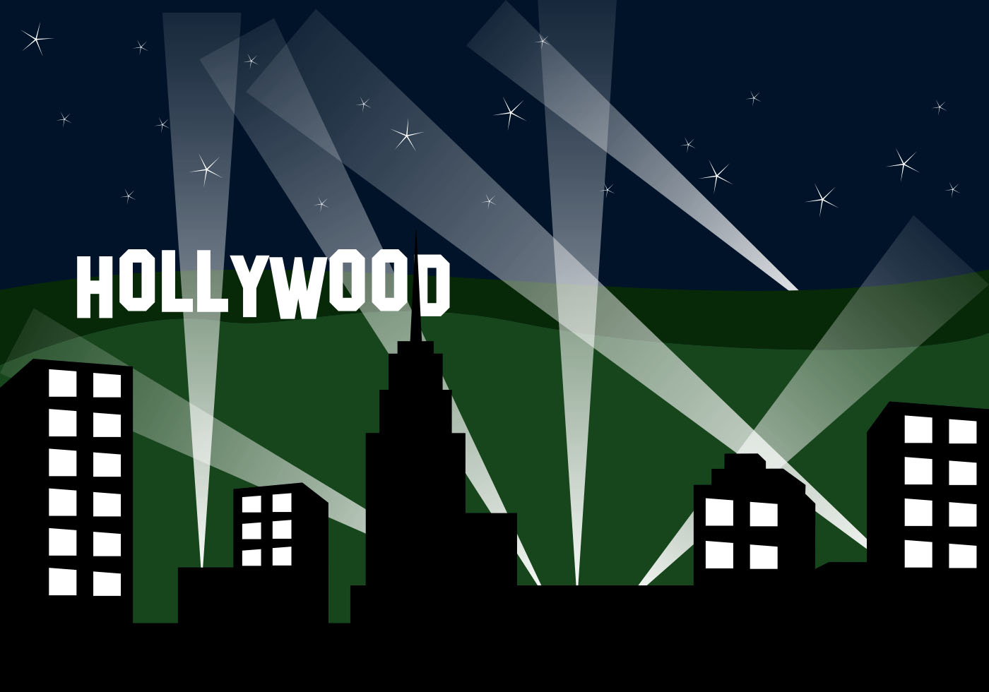 Hollywood Landscape At Night - Download Free Vector Art ...
