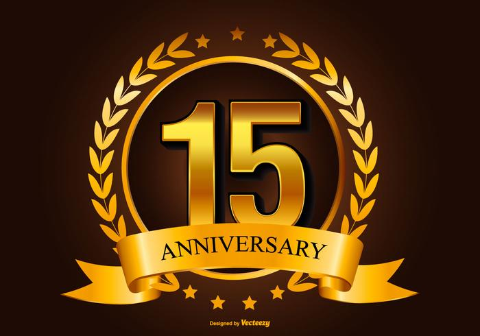 Golden 15th anniversary illustration download free vector art stock graphics images - Th anniversary symbol ...