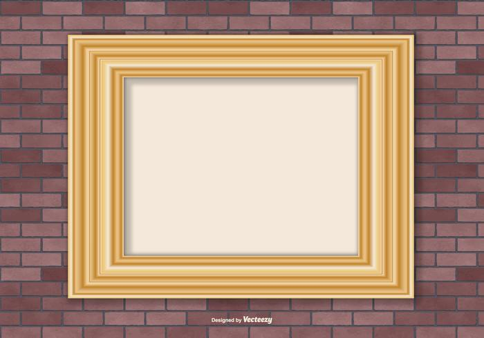 Gold Frame On Brick Wall Background
