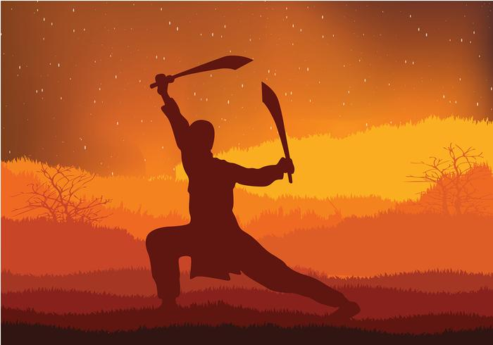 Wushu Night Utbildning Gratis Vector