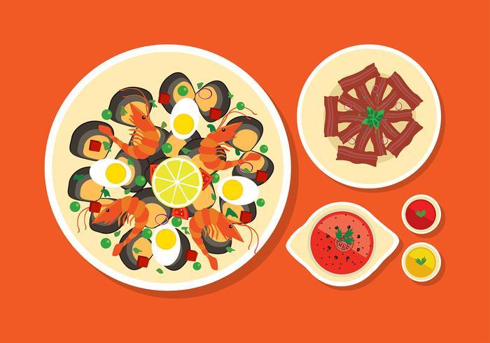 Paella Menú plana vectorial libre