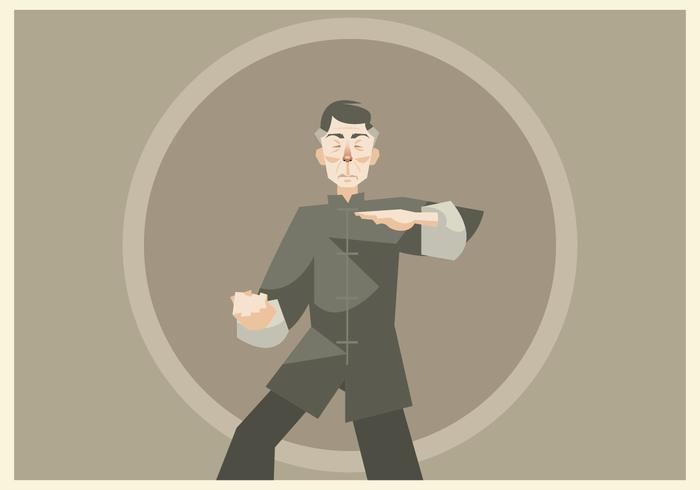Wushu Master Practicing Vector