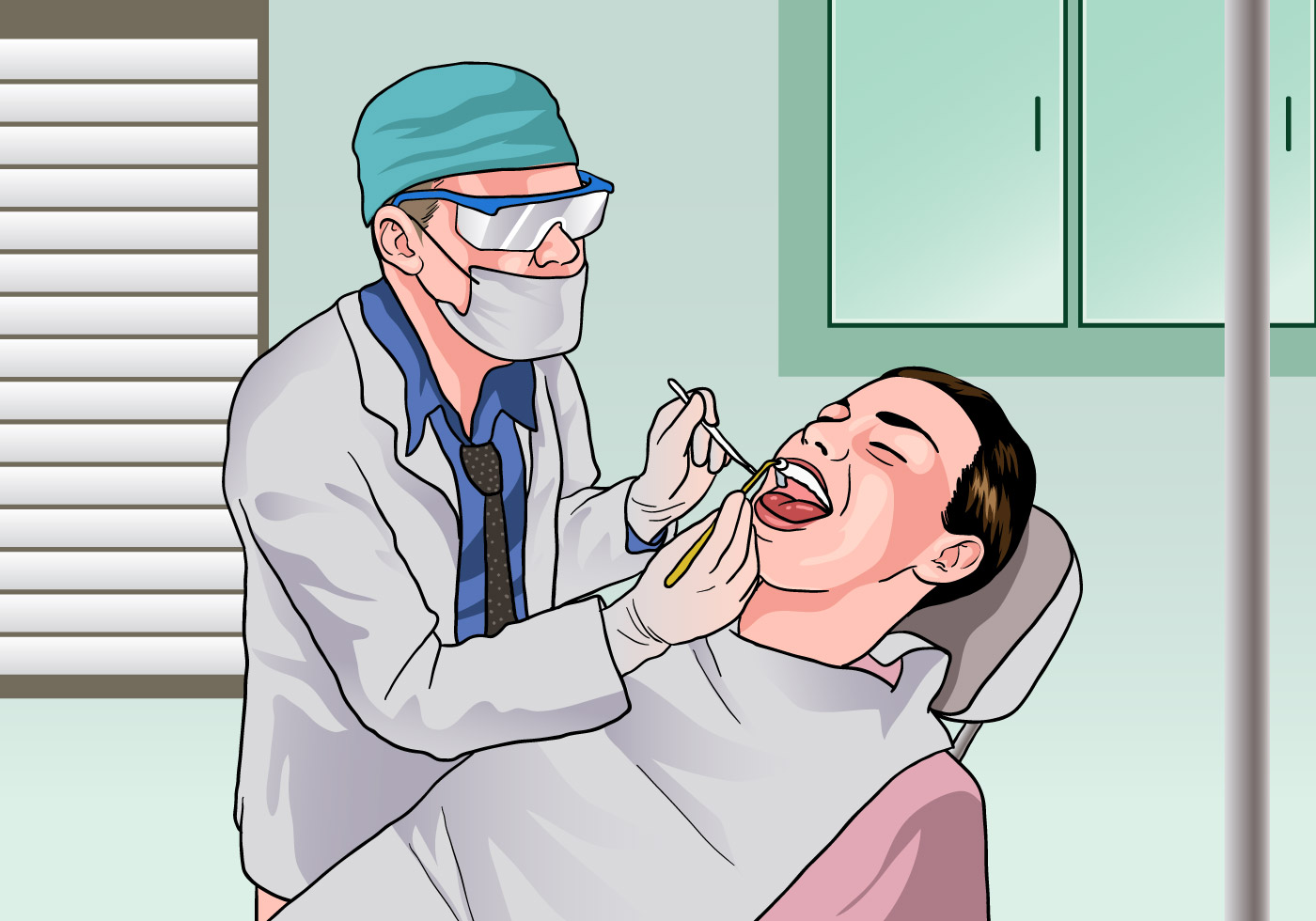 Dentista Examining A Patient Download Free Vector Art
