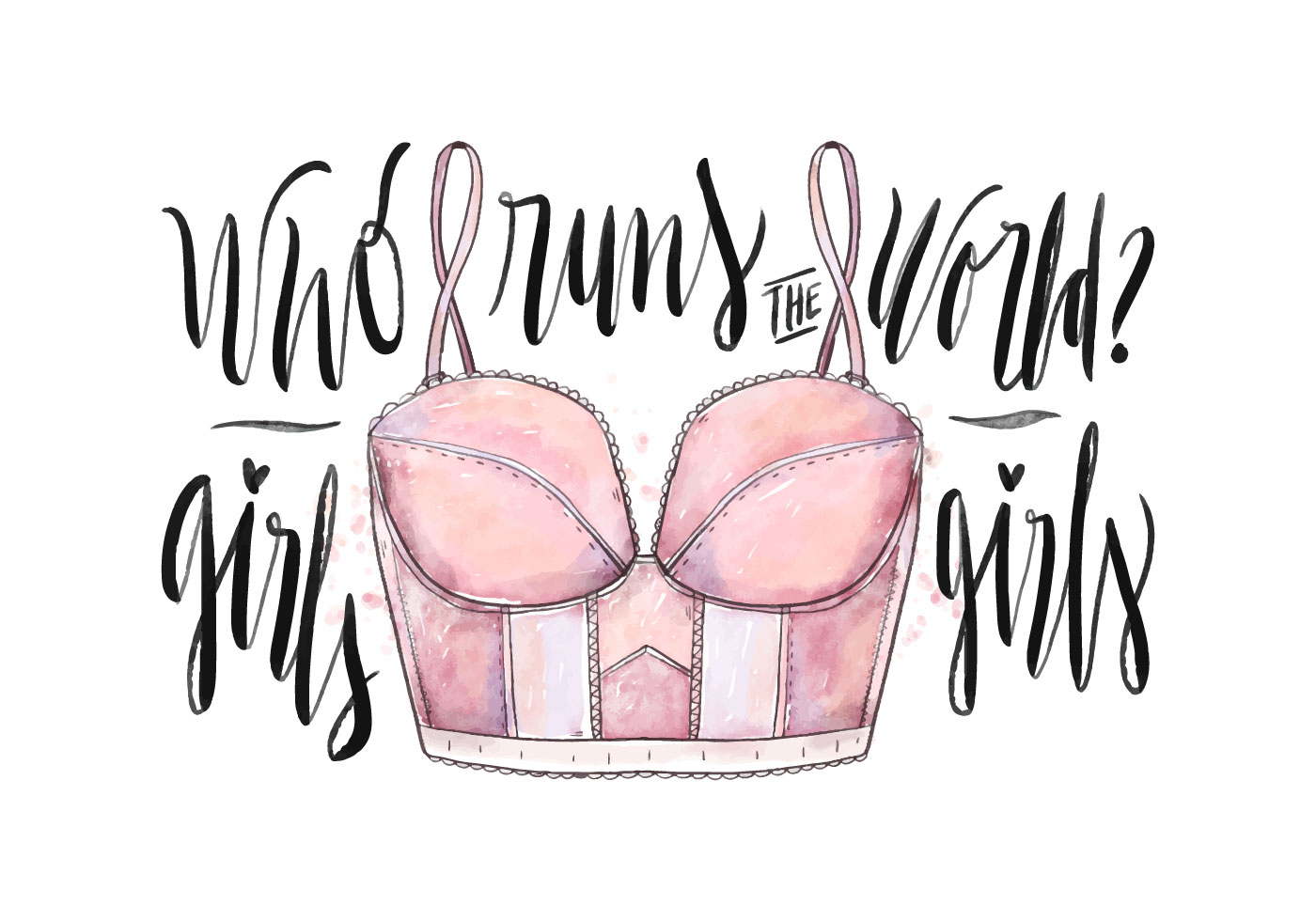 Vector Cartoon For Free Download About 5 514 Vector: Women's Day Watercolor Lingerie
