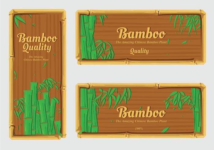Banner label bamboo vector pack
