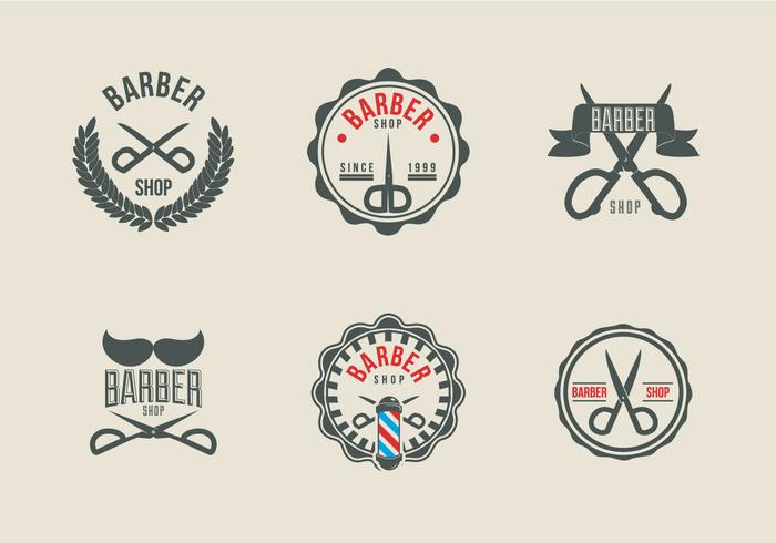 Scissors label barber shop logo vector