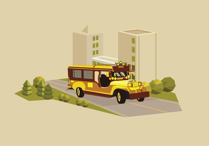 Jeepney traditional philippines bus transportation illustration