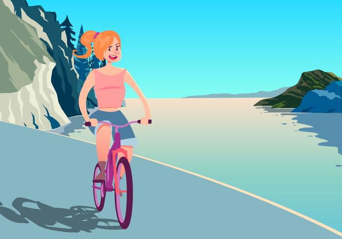 Una chica de montar una bicicleta vector