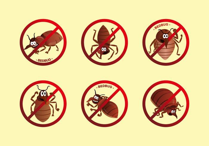 Anti bed bug label cartoon vector