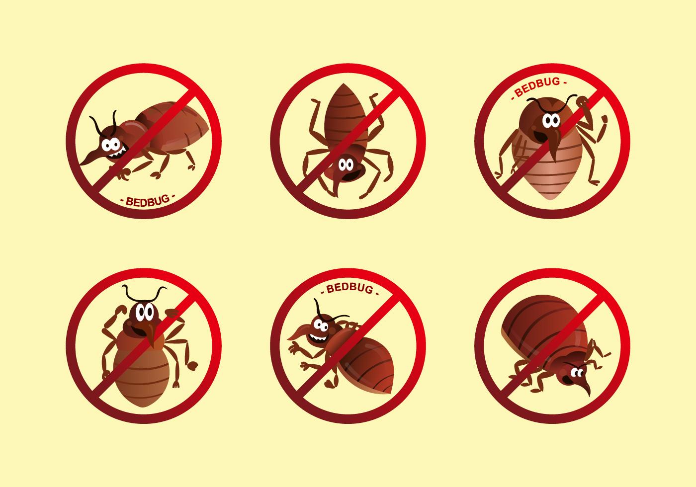 Anti Bed Bug Label Cartoon Vector Download Free Vector