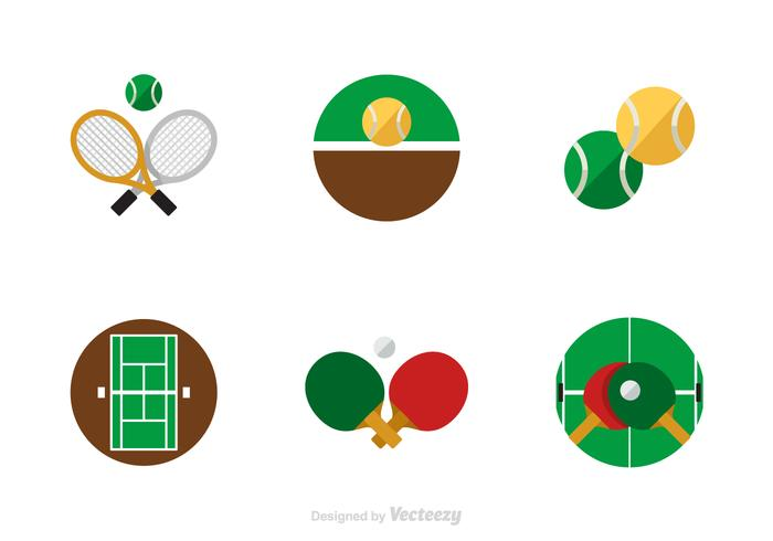 Free Flat Tennis Vector Icons