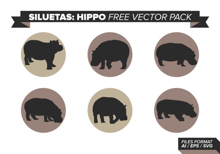 Pack de vecteur gratuit siluetas hippo