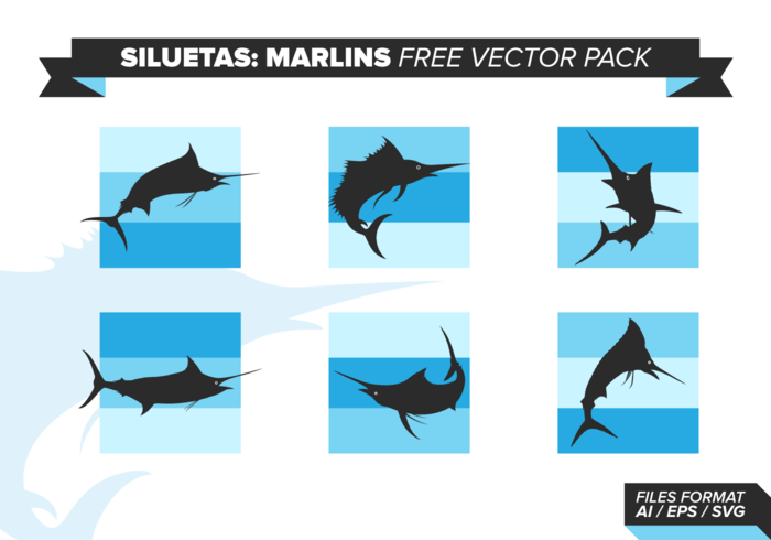 Siluetas Marlins Free Vector Pack