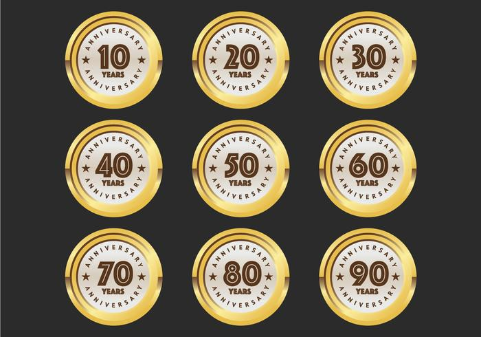 10th to 90th anniversary badges