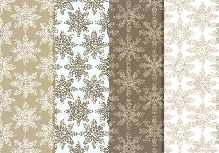 Vector Delicate Snowflakes Pattern Set