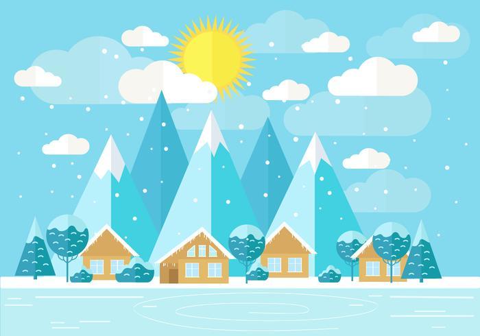 Paysage d'hiver de vecteur gratuit