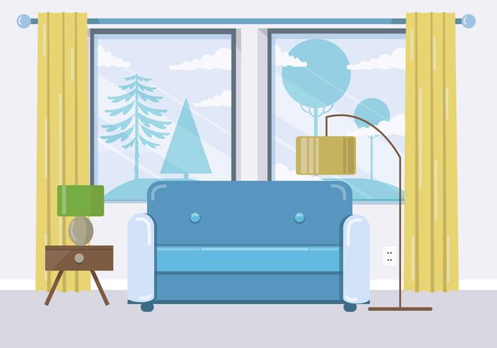 Ilustración vectorial de la habitación azul