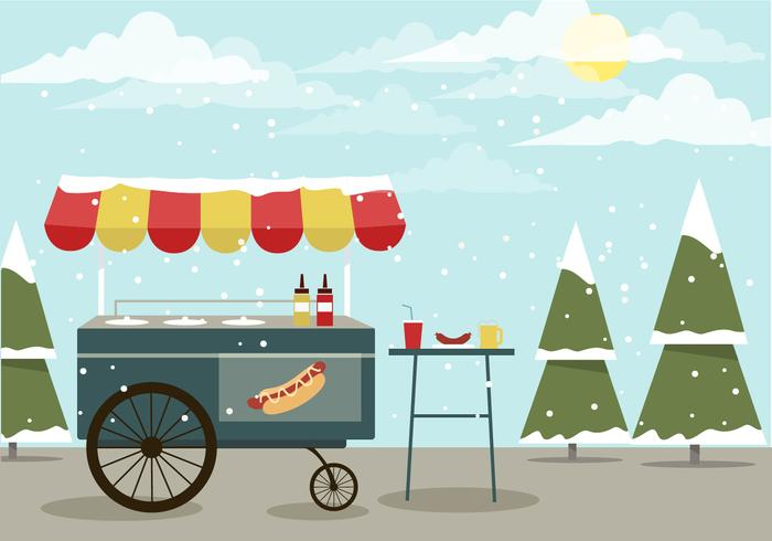 Invierno Vector Hot Dog Stand