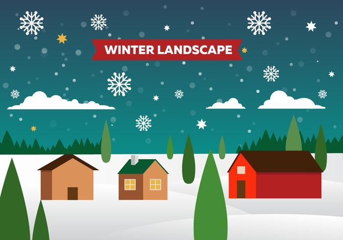 Free Winter Vector Landscape Illustration