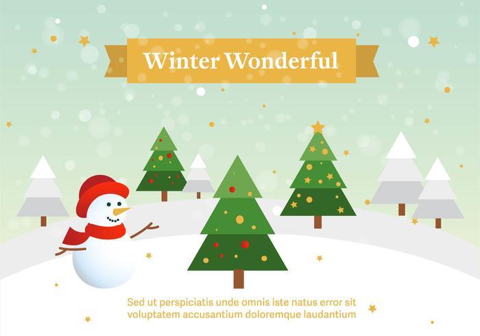 Vector libre invierno paisaje con muñeco de nieve