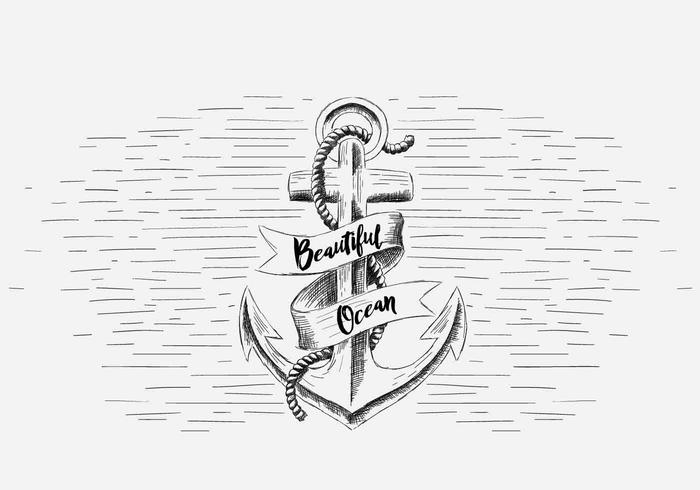 Free Vector Anchor With Ribbon Illustration