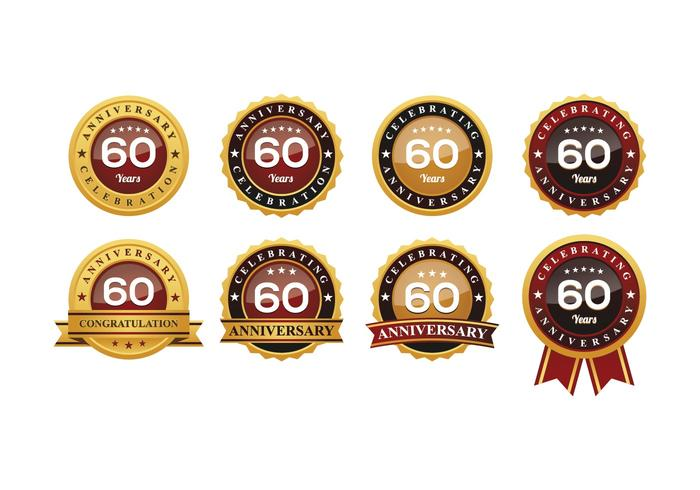 60TH Anniversary Badges Vectors