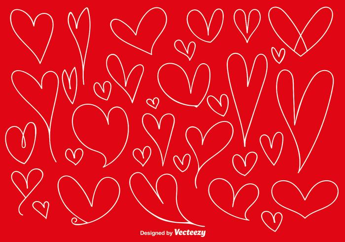 Vector Set Of Doodle Hearts