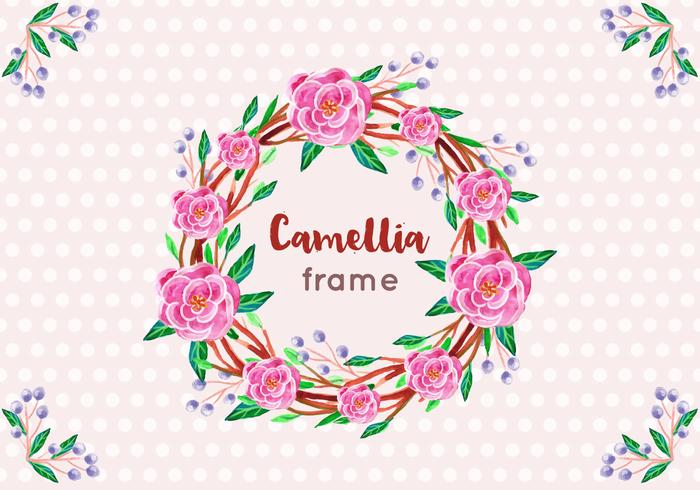 Free Vector  Camellia Frame in Watercolor Style