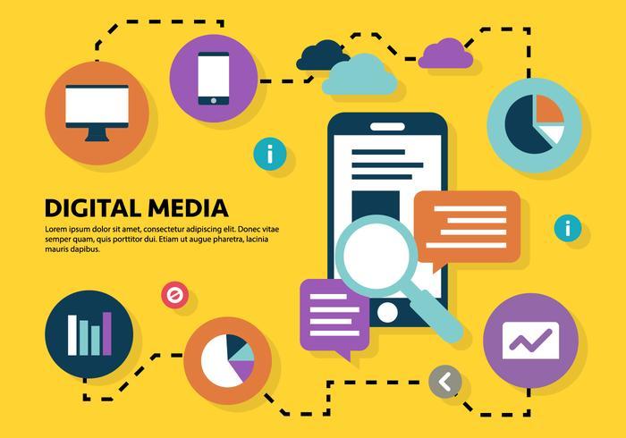 Ilustración Digital Marketing de Negocios Gratis Vector