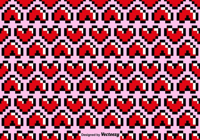 Vector Pixelated Heart Seamless Pattern
