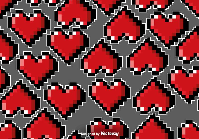 Vector Pixelated Hearts Seamless Pattern