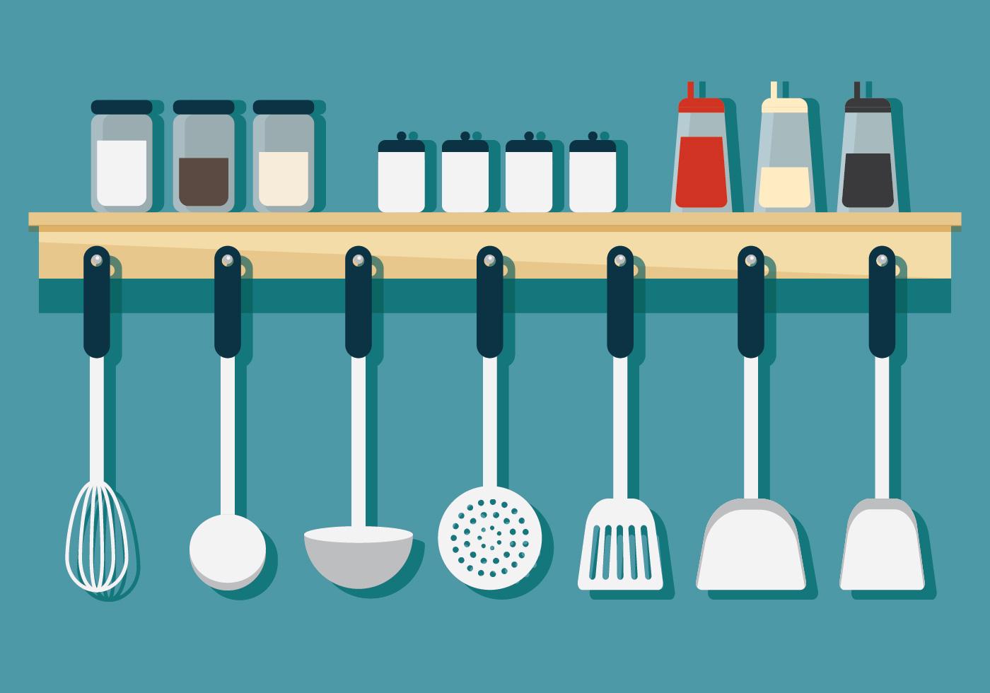 Colgar Utensilios De Cocina Descargar Vectores Gratis