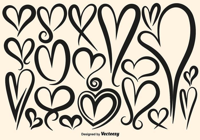 Colección de vector dibujado mano de los corazones
