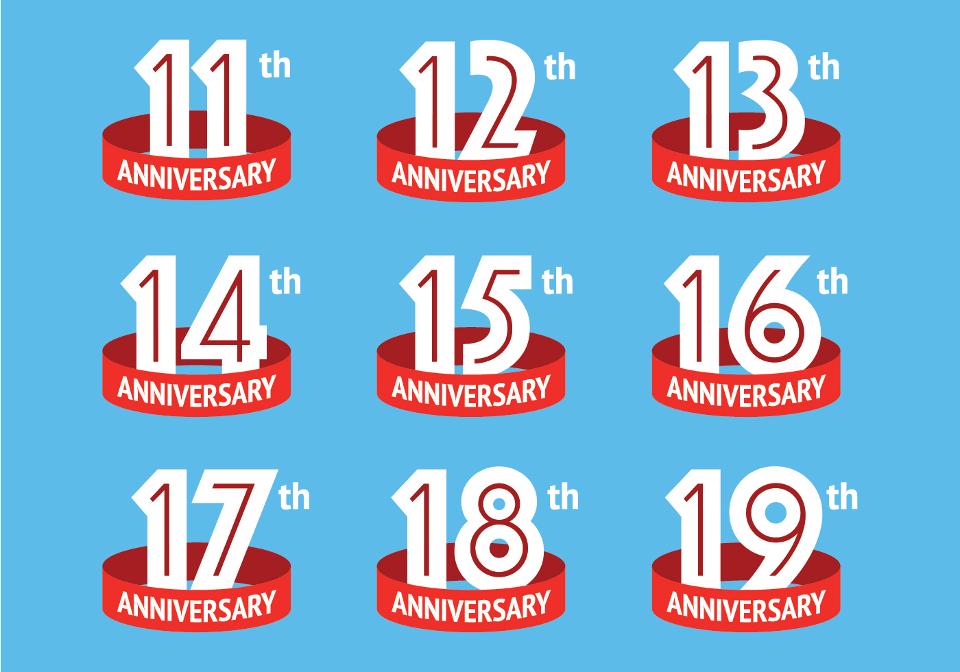 Anniversary Logos With Red Ribbon Download Free Vector