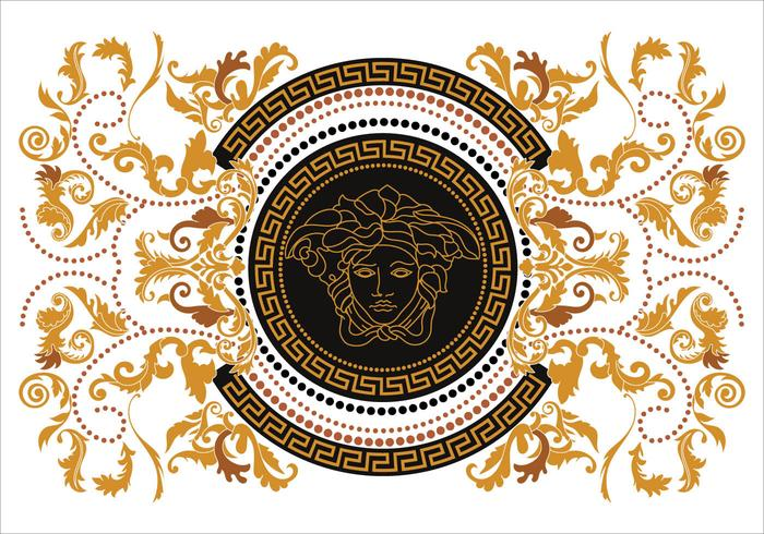 Ilustração Border Vector Modern Versace estilo com chave do ouro grega Vintage