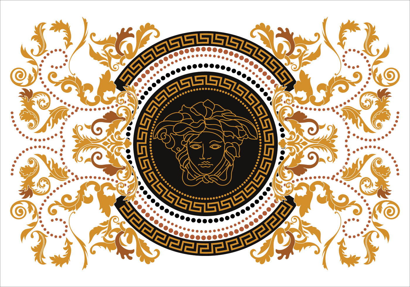 Modern Border Vector Illustration Versace Style with Gold ...