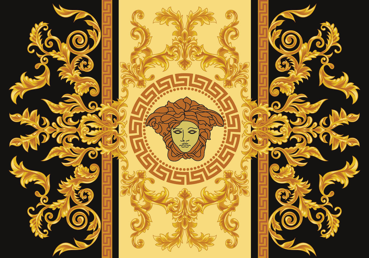 modern border vector illustration versace style with gold