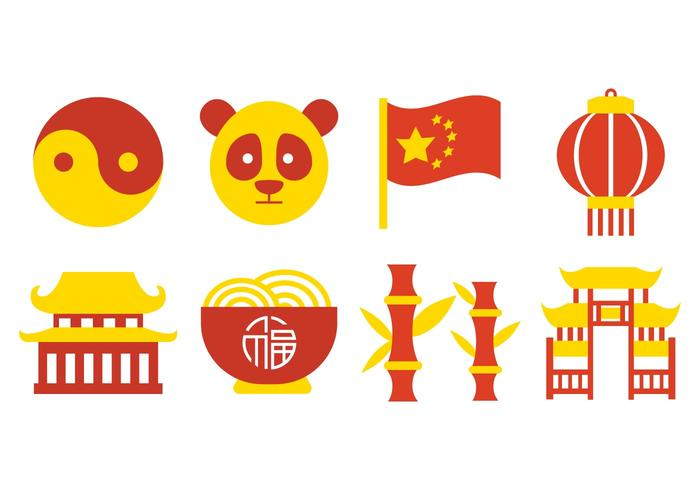 Vector libre Iconos de la cultura de China