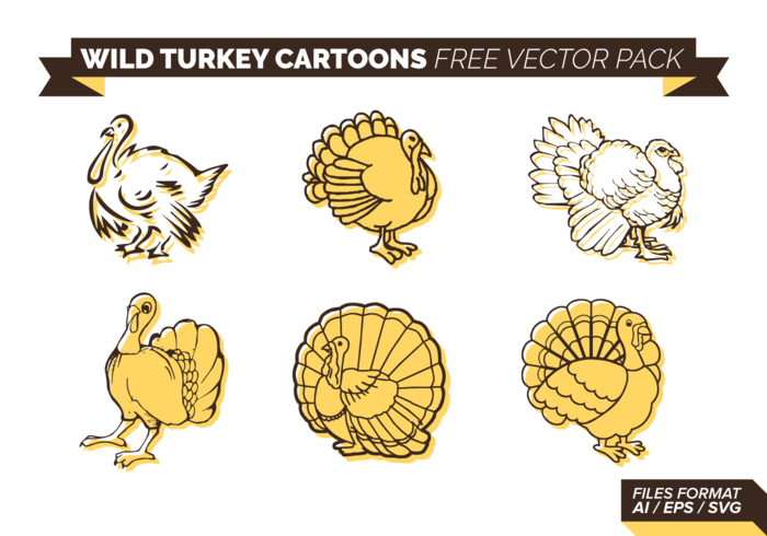 Wild Turkey Cartoon Free Vector-Pack