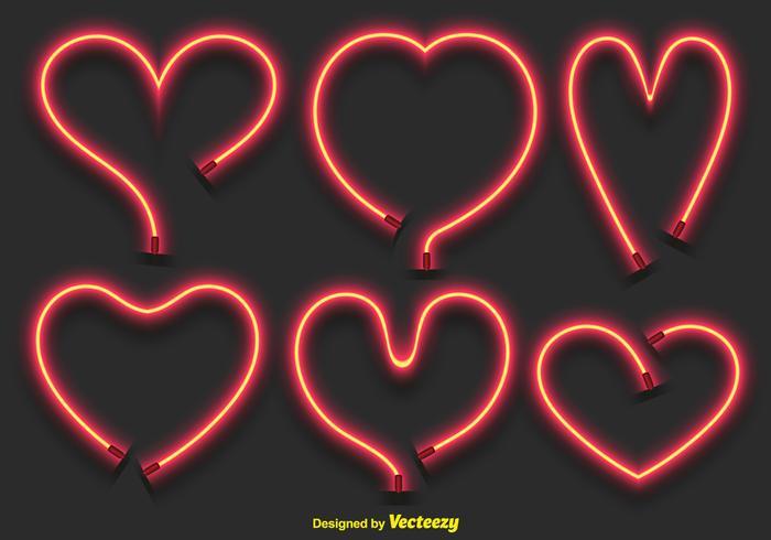 Vector de neón de los corazones Conjunto