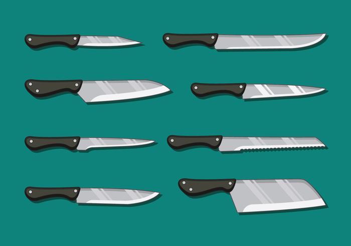 Confezione di coltelli da cucina vettore