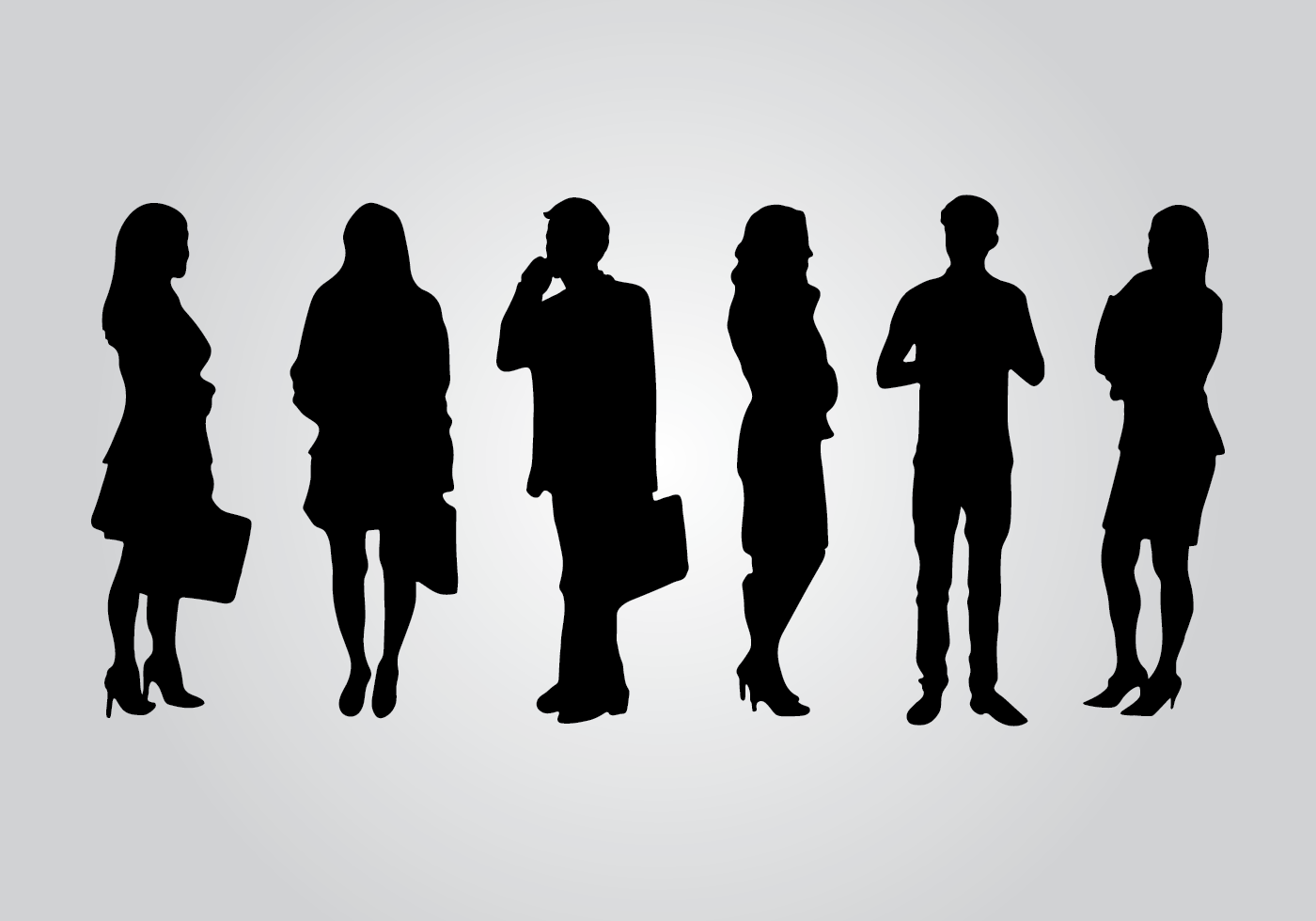 Traveling People Silhouettes Vector Art Graphics: Business Silhouette Vectors
