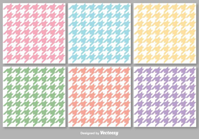 Vector Colorful Houndstooth Seamless Patterns Set