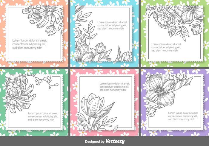 Retro Floral Vector Text Frames