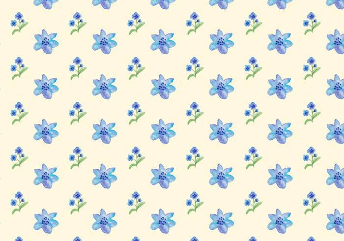 Watercolor Blue Flowers Gratis Vector Naadloos Patroon