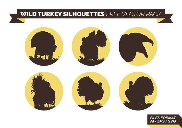 Wild Turkey Silhouettes Free Vector Pack