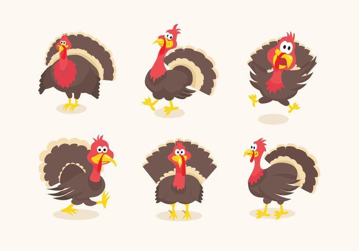 Wild turkey funny cartoon illustration